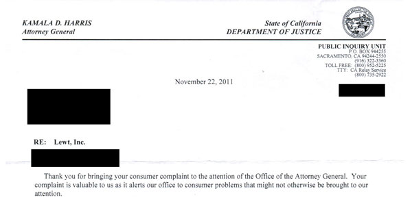 California Attorney General's response to Lewt.com complaint