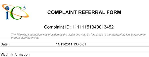 Internet crime complaint center IC3 report for lewt.com