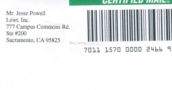Lewt..com's actual address and the person running the company.